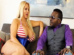 Hot blonde with huge boobs loves big black cock