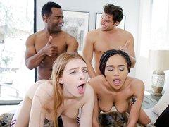 XXX Daughter Swap – Las chicas jóvenes comparten los penes de sus padrastros