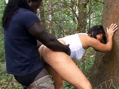 Chico africano folla en el bosque con la esposa alemana cornudo
