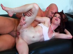 Young slim girl with long red hair Jessi Palmer needing a huge cock